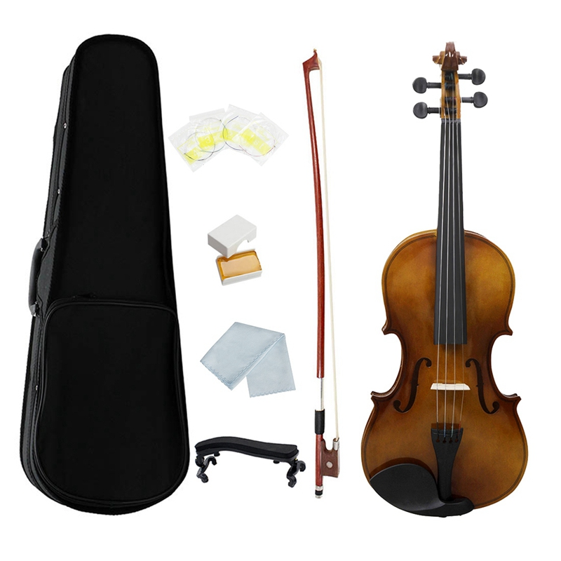 4/4 Full Size Acoustic Violin Vintage Glossy Painting Fiddle Wood with Violin Case Bow Rosin Strings Shoulder Rest