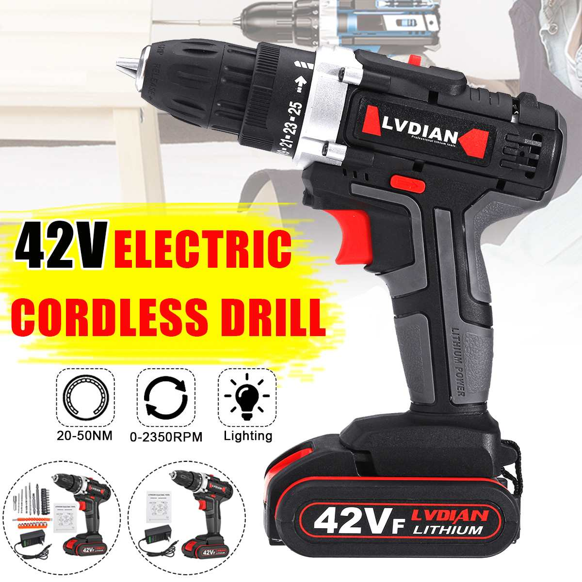 42V Cordless Impact Drill Driver Li-Ion Battery Electric Screwdriver LED Light