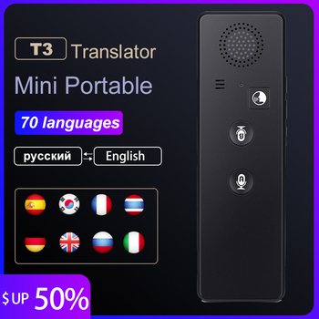 portable smart wireless translator handheld real time interactive instant voice translation support 52 languages no noise Portable Mini Wireless Smart Translator 70 Languages Two-Way Real Time Instant Voice Translator APP Bluetooth Multi-Language
