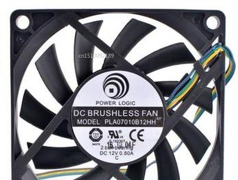 For PLA07010B12HH 7cm 70mm Fan 7010 70x70x10mm 12V 0.50A Double Ball Bearing Thin Air Volume Cooling Fan Free Shipping