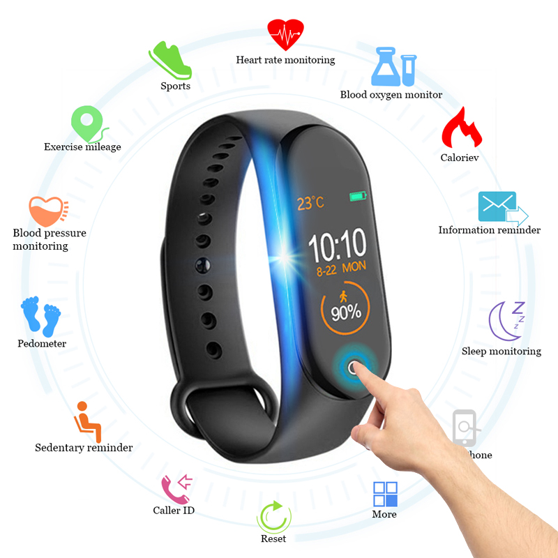 Wipe Out Virus <font><b>M4</b></font> <font><b>Smart</b></font> <font><b>band</b></font> 4 Fitness Tracker Watch Sport bracelet Heart Rate Blood Pressure Smartband Monitor Health Wristband image
