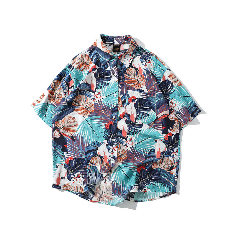 Waterfront Casual Short-sleeved Shirt Harajuku Floral-Print Hawaii-Style Loose-Fit Flower Shirt Beach Shirt Unisex Fashion Summe image