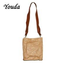 Youda Wrinkle Design Kraft Paper Totes Waterproof Package Diagonal Women Bags Shoulder Bucket Womens Bag Simple Ladies Handbag