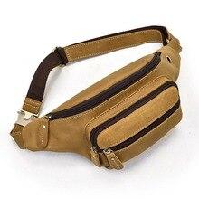 MAHEU Casual Leather Fanny Pack Outdoor Travel Chest Bag Mens Genuine Leathet Cowskin Waist Pack Men Chest Bag Running Waist Bag