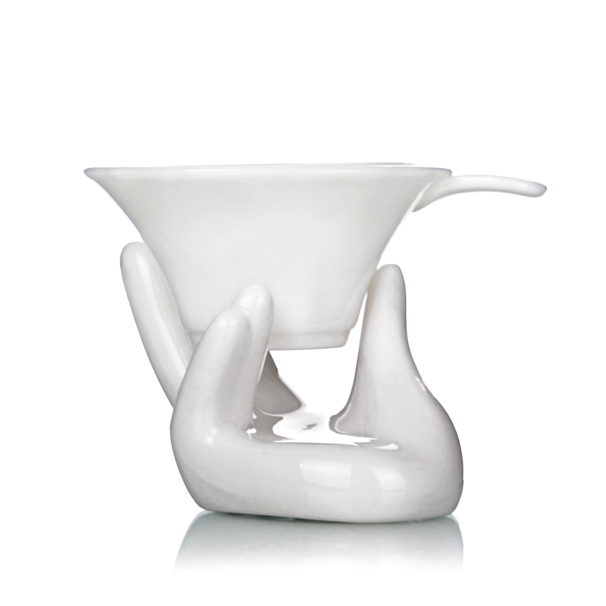 1x White Porcelain Fine Mesh Kungfu Tea Funnel Strainer Filter W/ Holder Stand Health Tea Parts Accessories Tools Gifts