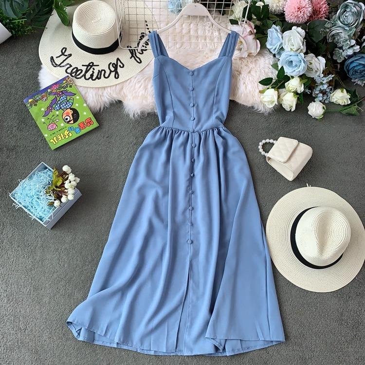 FTLZZ 2020 Summer Solid A-line Dress Women Bohemian Vintage Button Long Dresses Pleated Stretch Slim Lady Vestidos