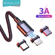 Kuulaa carregador magnético cabo de carregamento rápido usb micro tipo c cabo ímã de dados fio de carga cabo do telefone móvel para o cabo do iphone