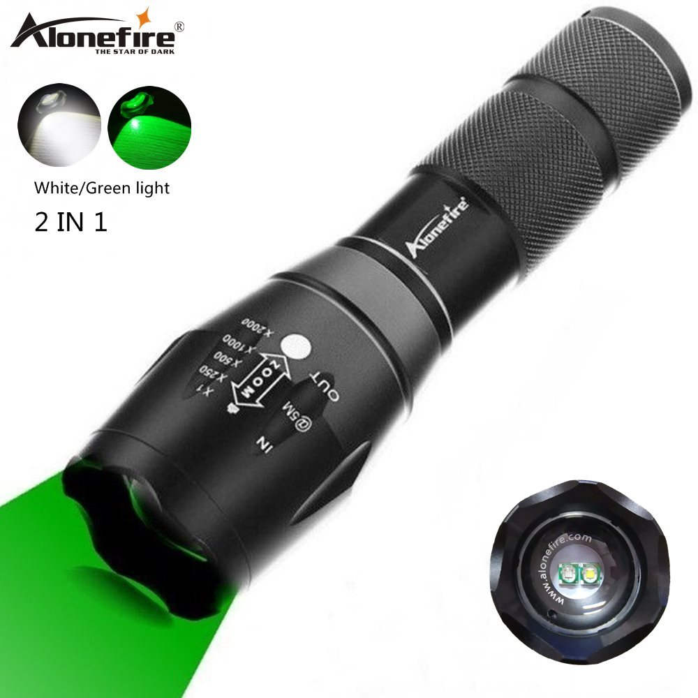 Alonefire G700-WG 2in1 White+Green LightLED Flashlight Bright Tactical Waterproof Hunting Light Scout Ultra Bright Torch