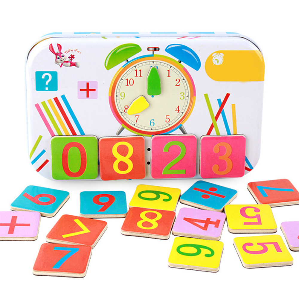 Kindergarten Children Wooden Arithmetic Learning Box Puzzle Early Education Wooden Blocks Clock Counting Rod For Kids Gift