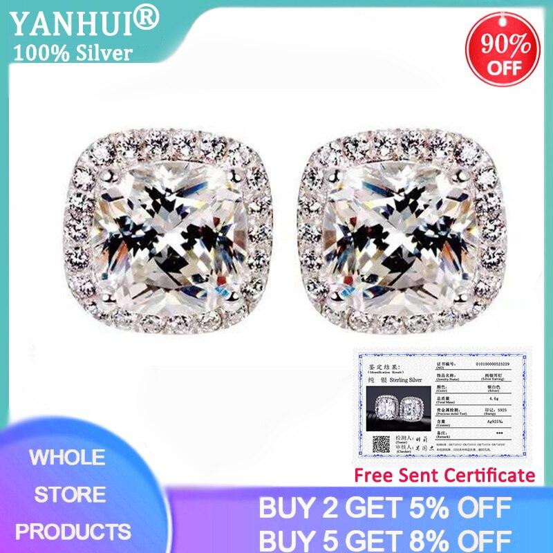YANHUI With Certificate Luxury 2.0ct Zirconia Diamond Earrings Fine Jewelry 925 Silver Fashion Double Stud Earrings For Women E1