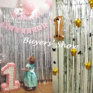 Image 3 - 2M Silver/Multi color Sequin Foil Curtain Rain Fringe Tassel Wedding Backdrop Birthday Party Decoration for Anniversary Decor