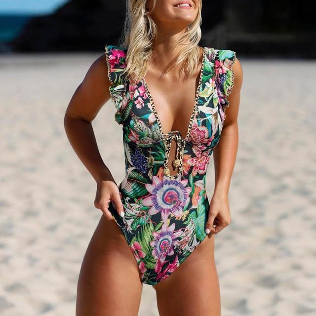 Ruffle 2021 Women Sexy One Piece Swimsuit Swimwear Female High Cut Brazilian Bather Monokini Bathing Suit Beachwear 1