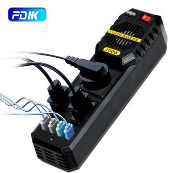 FDIK-convertidor/inversor de potencia para coche, 200W, CC de 12V a ca de 220V, con 4 cargadores USB, accesorios para coche, encendedor de cigarrillos, inversor automático
