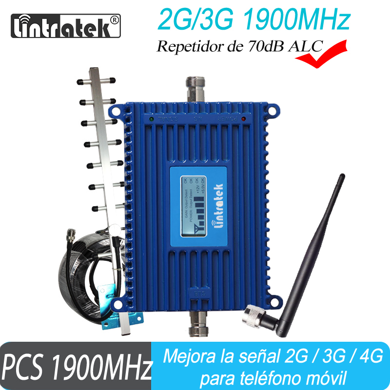 2G 3G Band2 Lintreatek GSM 1900 Mobile Signal Booster PCS Cell Phone Cellular Repeater 70dB Amplifier With ALC Function #20