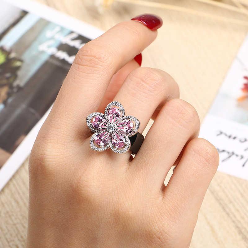 2019 חדש יוקרה מוצק 925 כסף סטרלינג טבעות לנשים חתונה ורוד AAA CZ גדול פרח בריא קרמיקה טבעות תכשיטים מתנה