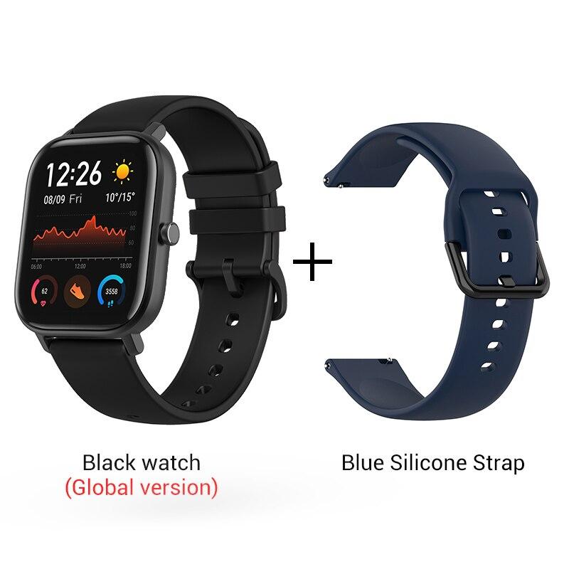 СМАРТ-ЧАСЫ XIAOMI HUAMI AMAZFIT GTS- Выглядит как часы Apple - Цвет: Black n Blue strap