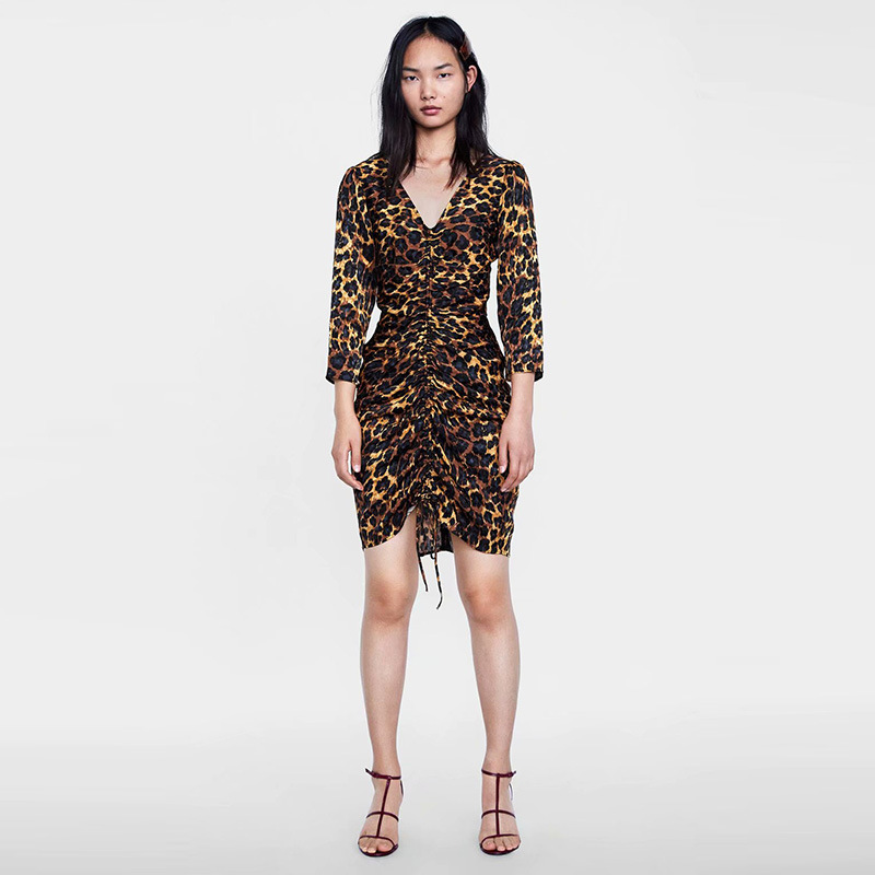 Europe And America New Style Deep-V Leopard Hip V-neck Three-quarter-length Sleeve Dress N2-8592