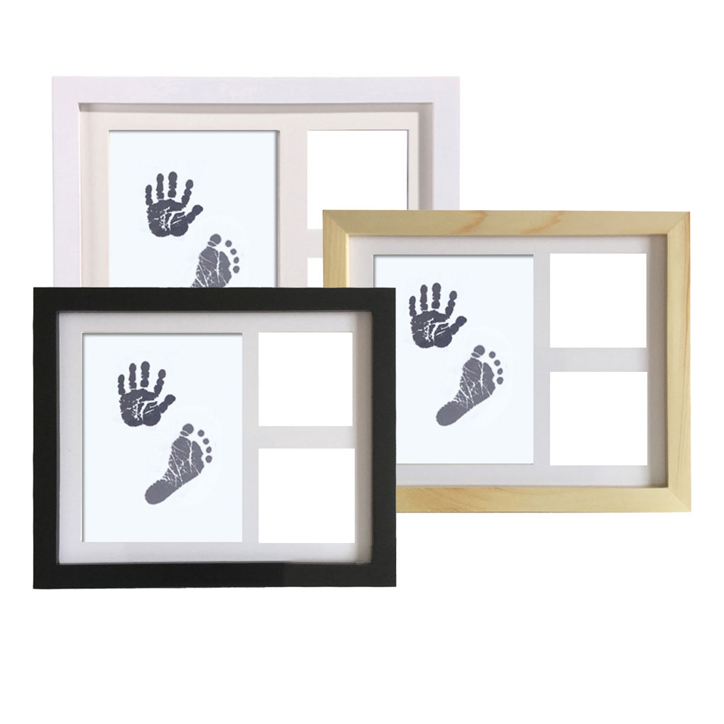 Newborn Baby Handprint Footprint Wood Photo Frame Kit Baby Clean-Touch Ink Pad Nursery Decor