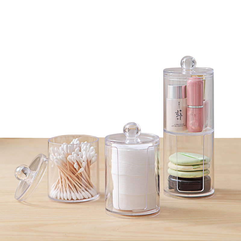 XUNZHE Two Layers Combination Clear Acrylic Storage Box Holder Transparent Cotton Swabs Stick Cosmetic Makeup Organizer Case