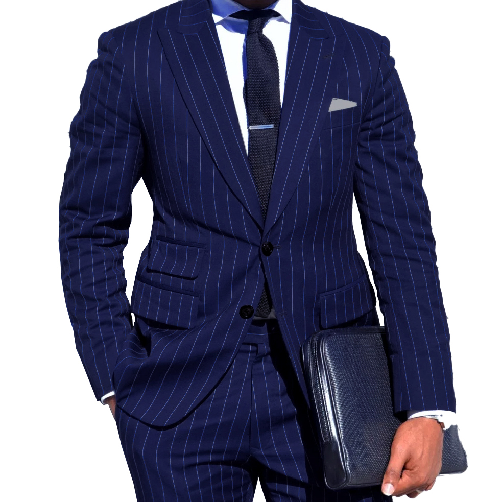 95Mens Chalk Stripe Suit Custom Made Light Navy Blue Mens Striped Suit With Ticket Pocket,Tailored Single Breasted Suit Peak Lapel