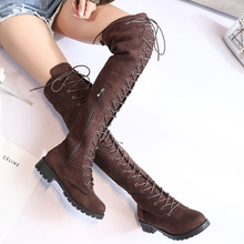 Plus Size Sexy Thigh High Boots Ladies Over The Knee Boots Lace Up Black Brown Boots Fashion Winter Autumn Women Boots 2019 New