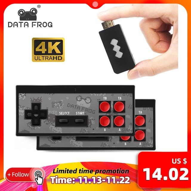 DATA FROG 4K HDMI gra wideo konsola wbudowana w 568 klasyczne gry Mini Retro konsola kontroler bezprzewodowy wyjście HDMI podwójne odtwarzacze