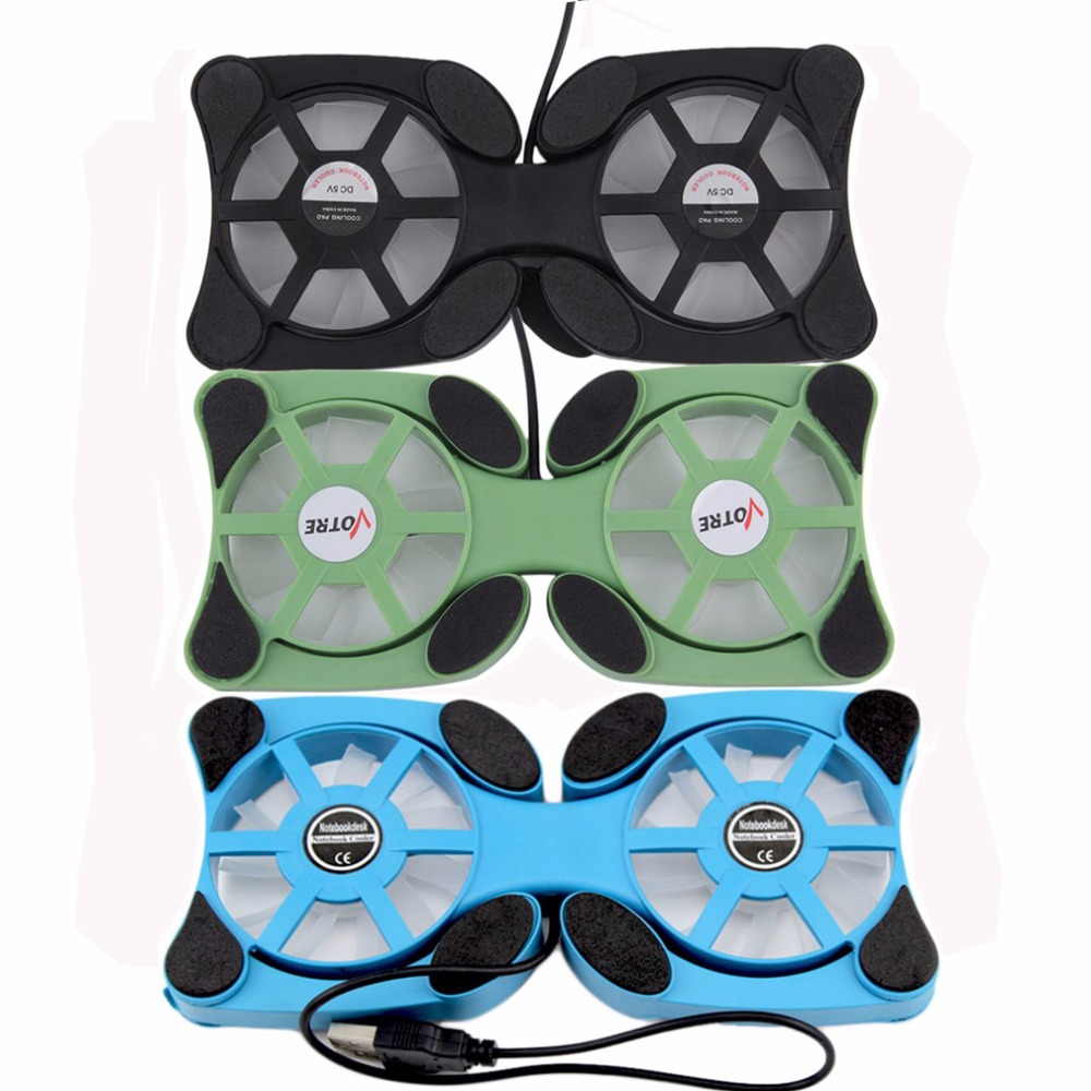 1pcs Folderble 3 Color USB Port Mini Octopus Notebook Fan Double Fans Cooler Cooling Pad For 14