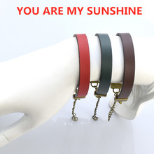 Couples Friendship Bracelet Letters  Youre My Sunshine Engraved Fashion Leather Cuff Gift for Women Men