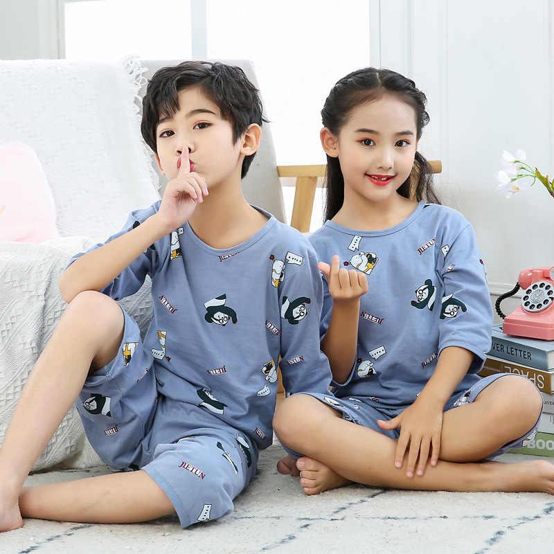 Nueva ropa de verano para niños, conjuntos de Pijama para niños, Pijama Infantil media de algodón de manga, conjunto de ropa de casa, ropa de dormir