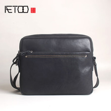 AETOO Mens leather shoulder bag retro casual Messenger simple wild handmade first layer messenger