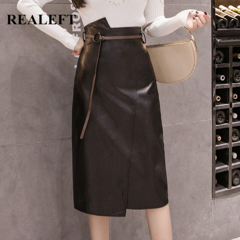 REALEFT Autumn Winter Women PU Leather Sheath Midi Skirts With Belt High Waist Knee-Length Wrap Skirts Pocket Female 2019 New