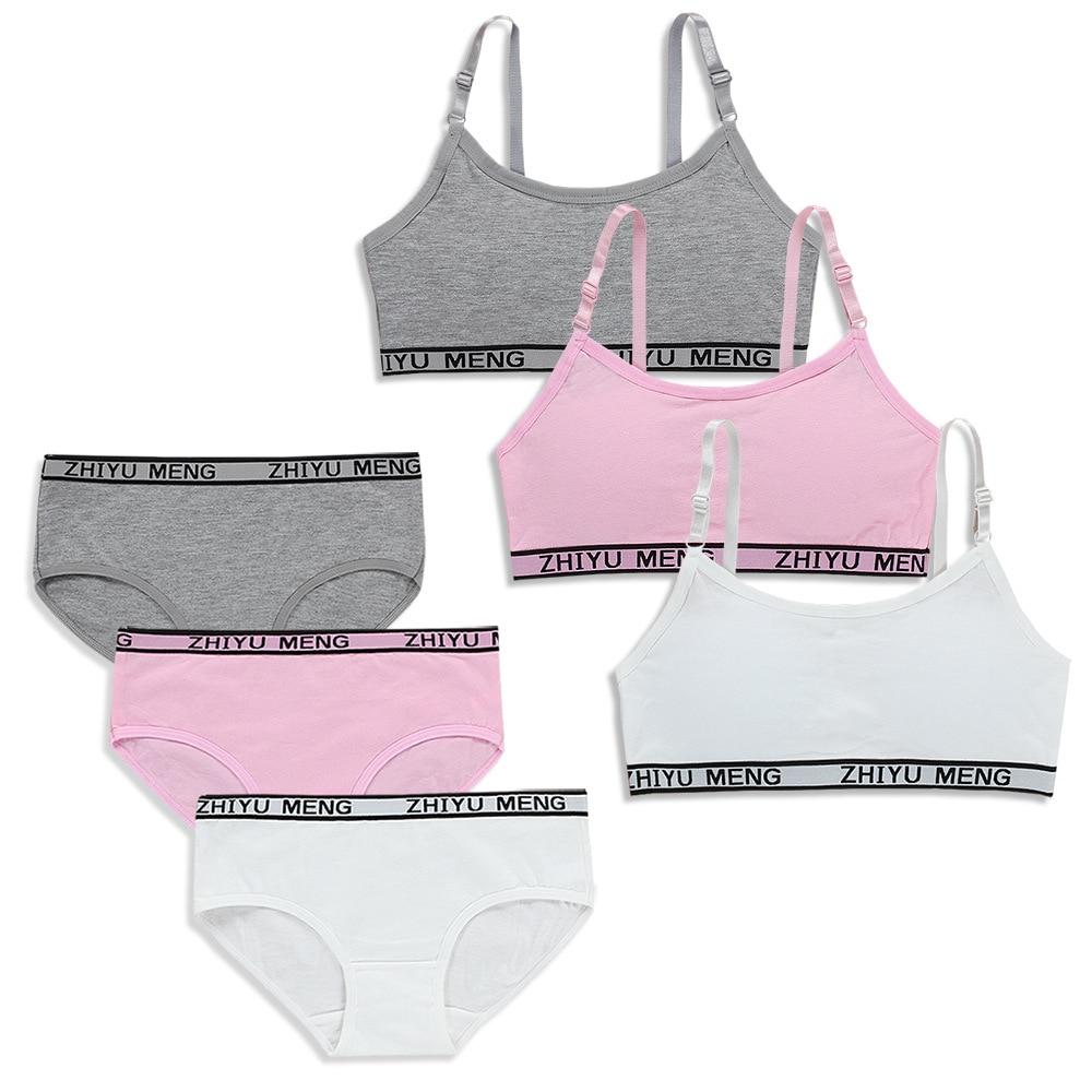 Summer Wireless Sports Bra Cotton Training Bras For Kids Young Girls Bra And Panties Sets Kids Lingerie Children Underwear