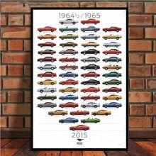 Ford mustang 50th aniversário edição ford rs evolução cartaz do carro arte da lona pintura parede fotos para sala de estar decoração casa