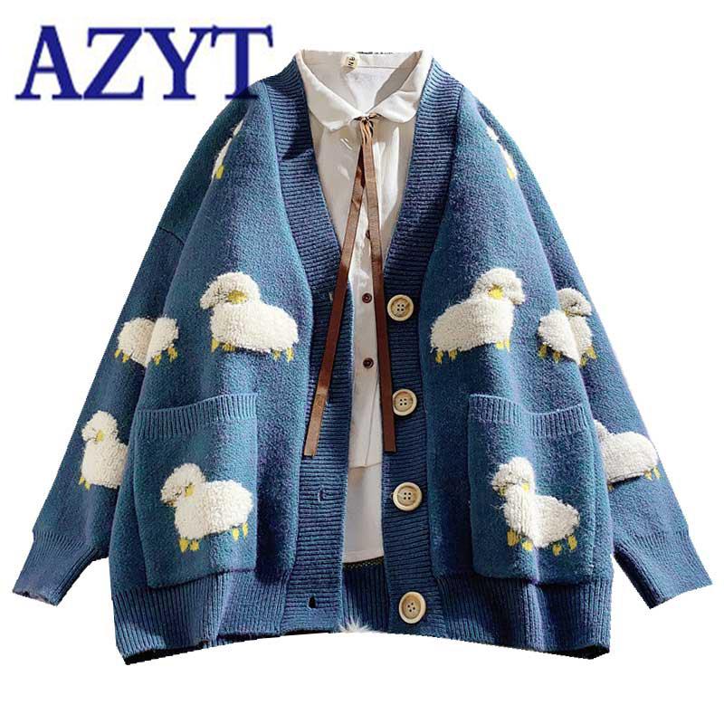 2020 Autumn New Knit Female Cardigan Loose Streetwear Knit Sweater Coat Cute Cartoon Print V Neck knitted cardigan Women Jacket
