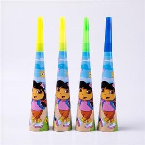 Image 3 - 107 adet Dora Explorer Tema Çocuklar Doğum Günü Parti Malzemeleri Tek Kullanımlık Sofra Kağıt Bardak Tabak Peçete Masa Örtüsü Bebek Duş