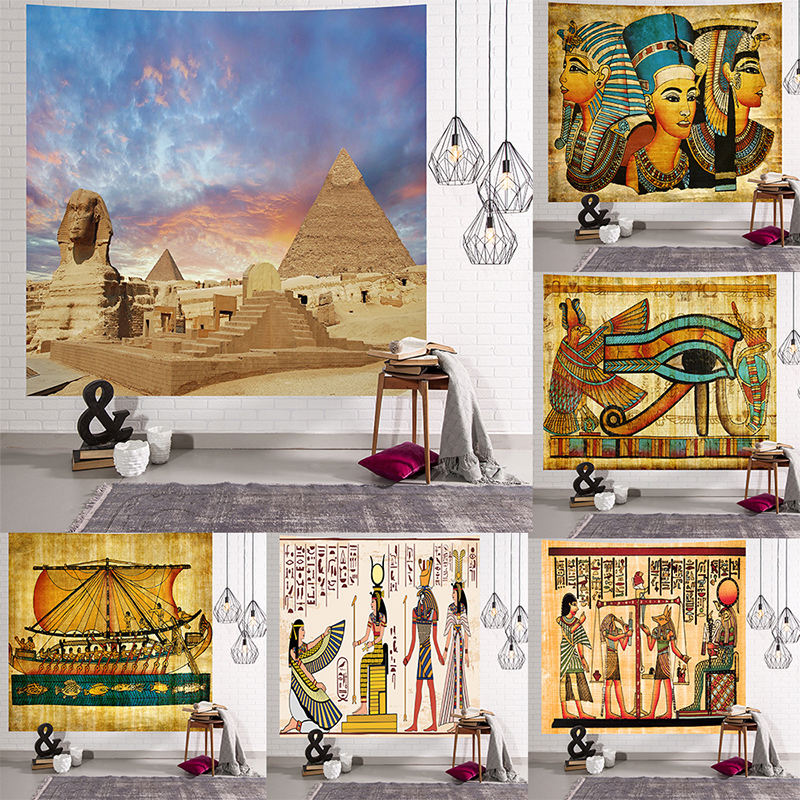 Image 2 - Yellow Ancient Egypt Tapestry Wall Hanging Old Culture Printed  Hippie Egyptian Tapestries Wall Cloth Home Decor Vintage  TapestryTapestry