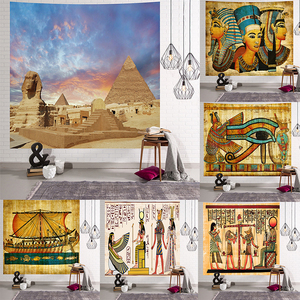 Image 2 - Yellow Ancient Egypt Tapestry Wall Hanging Old Culture Printed Hippie Egyptian Tapestries Wall Cloth Home Decor Vintage Tapestry