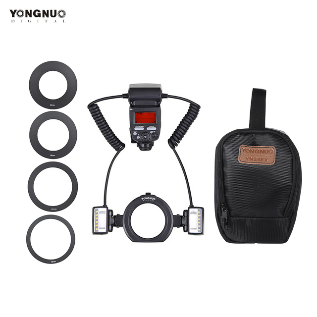 YONGNUO YN24EX E TTL  Flash Speedlite 5600K with 2pcs Flash Heads and 4pcs Adapter Rings for Canon EOS 1Dx 5D3 6D 7D 70D Cameras