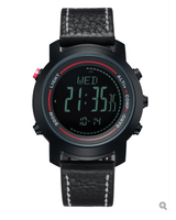 SPOVAN Men's Watch with Genuine Leather Band 50M Waterproof Sport Watches Compass LED Backlight Multifunction Wristwatch MG01b