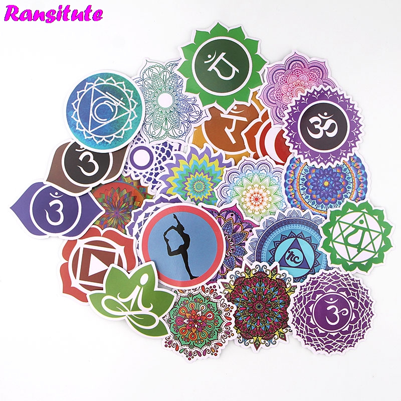 24pcs/set Yoga Sticker Computer Skateboard Luggage Waterproof Sticker JDM Graffiti Applique Cool As Picture R543