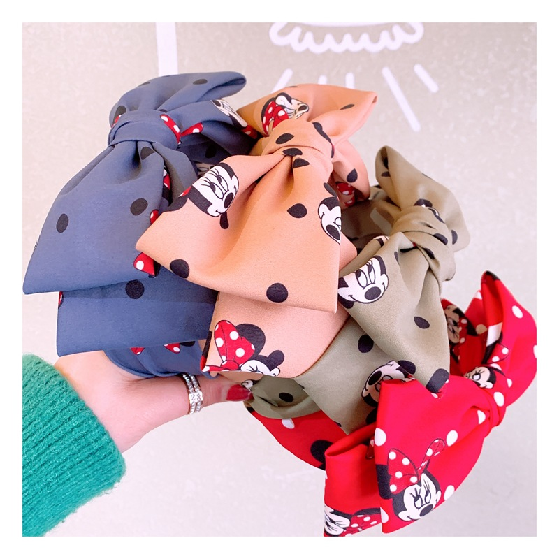 Disney Mickey Mouse Lady Cartoon Head Hoop Jewelry Wide-brimmed Bow Hairpin Minnie Headband Hair Accessory