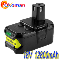 High Capacity New 18V12800mAh Li-Ion For Ryobi Hot P108 RB18L40 Rechargeable Battery Pack Power Tool Battery Ryobi ONE+Hot sell