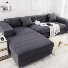 Funda de sofá gris elástica para sala de estar, funda de sofá, muebles de sillón, funda en forma de L, 2 piezas
