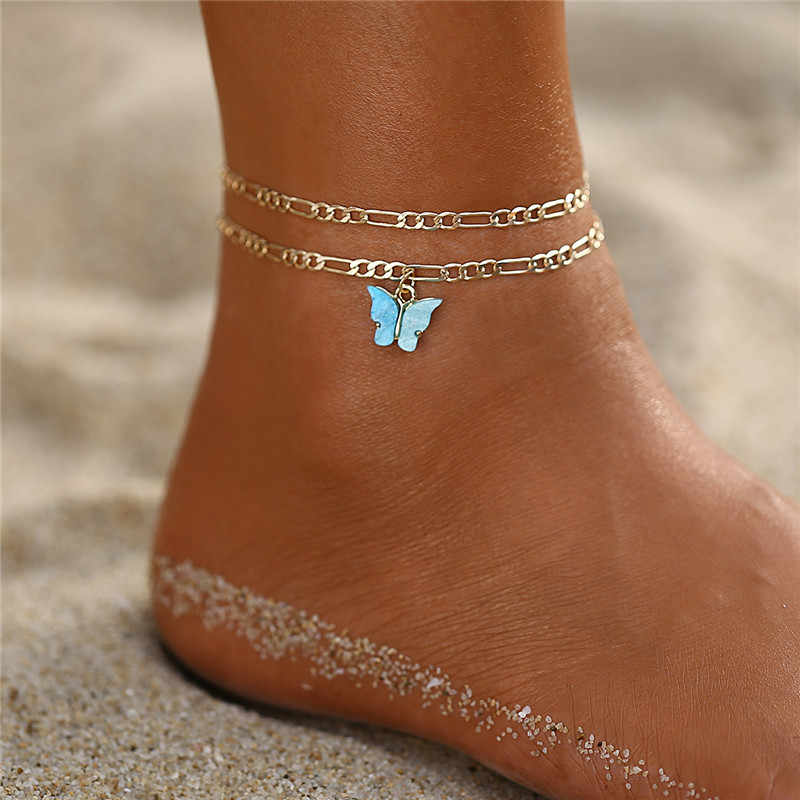 17KM moda 2020 nuevo juego de tobilleras de mariposa para mujer, Drop shipping Vintage tobillera dorada, pulsera de pie para playa, joyería Bohemia