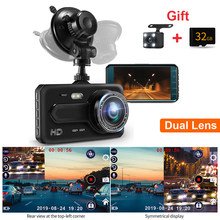 Car DVR Dual Camera with 32G Card 4'' Dash Cam Dual Lens Front Rearview Camera Auto Video Driving Recorder Night Vision G-sensor(China)