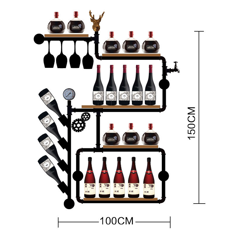 Retro Design Artistic Wine Rack Set Wall Mounted Shelves For Glassware Creative Bottle Organizer For Storage  Hot Sales
