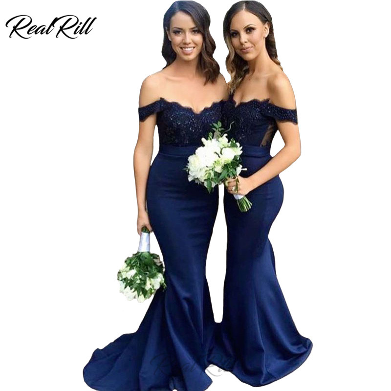 Real Rill Off The Shoulder Mermaid   Bridesmaid     Dresses   Satin Lace Top Lace Up Back Long   Dress   For Wedding Party