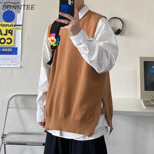 Men Sweater Vest Knitted Korean-Style Sleeveless Male Fashion Streetwear Solid Loose