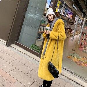 Image 4 - Female Winter New Faux Rabbit Fur Coat Thick Warm Flocking Women Luxury Long Fur Jacket Hooded Thick Warm Parka Coats