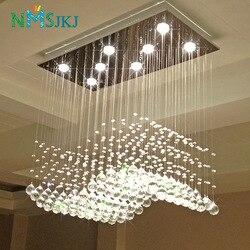 Nowoczesne prostokąt kryształowy żyrandol do salonu dekoracji srebrny abażur GU10 bazy AC 90-260V